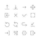 Pil och navigeringlinje symbolsuppsättning Arkivbilder