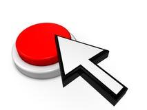 Pil och röd knapp Fotografering för Bildbyråer