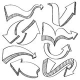 Pil- och riktningssymbolssamling Arkivbilder