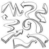 Pil- och riktningssymbolssamling Arkivbild
