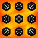 Pil. Sexhörnig symbolsuppsättning på abstrakt apelsinbaksida Arkivfoto
