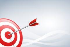 Pil som slår en målpil på bakgrund för vågform Begrepp för målmarknadsföring, teknologi, nätverksanslutning och målarro Arkivfoton