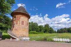Pil tower in Pavlovsk park, St. Petersburg, Russia stock photos