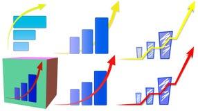 Pil upp graf och diagram Royaltyfri Fotografi