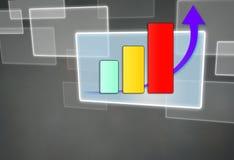 Pil upp graf och diagram Arkivfoto