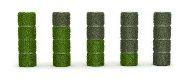Pila AA de la hierba con las células y descargada Imagen de archivo libre de regalías