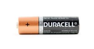 Pila AA de la marca de Duracell Imagen de archivo libre de regalías