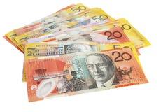 Pila australiana del dinero en circulación Foto de archivo libre de regalías