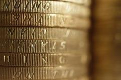 Pila britannica delle monete Fotografie Stock Libere da Diritti