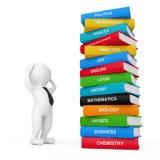 pila cercana de 3d Person Stressed de libros de escuela Coloured rende 3D Imágenes de archivo libres de regalías
