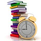 Pila cercana del reloj de alarma de libros stock de ilustración