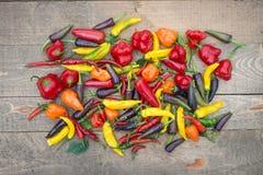 Pila colorida de pimientos mezclados en la tabla de madera Imagen de archivo