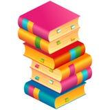 Pila colorida del vector de libros con las señales ilustración del vector