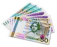 Pila de 100, 50 y 20 billetes de banco de la corona sueca Foto de archivo libre de regalías