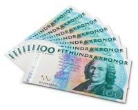 Pila de 100 billetes de banco de la corona sueca Fotografía de archivo libre de regalías