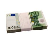 Pila de 100 euros Fotografía de archivo