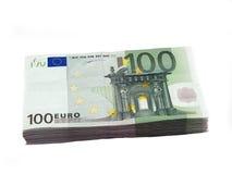 Pila de 100 euros Fotos de archivo