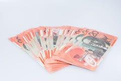Pila de australiano veinte billetes de banco del dólar Imagen de archivo libre de regalías
