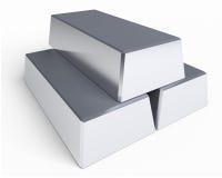 Pila de barras de plata aisladas Imagenes de archivo
