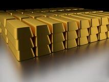 Pila de barras de oro Foto de archivo