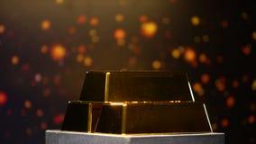 Pila de barras de oro en fondo, depósitos bancarios, éxito y riqueza chispeantes almacen de video