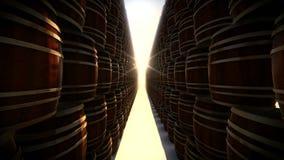 Pila de barriles de madera en almacenamiento
