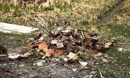 Pila de basura en bosque Fotografía de archivo libre de regalías