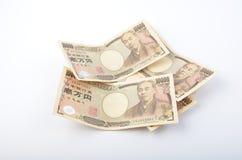 Pila de billete de banco de la moneda de los yenes japoneses Imagenes de archivo