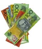 Pila de billetes de banco australianos Fotos de archivo libres de regalías