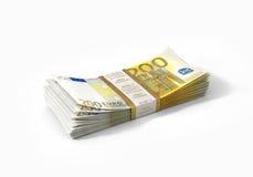 Pila de 200 billetes de banco euro Foto de archivo