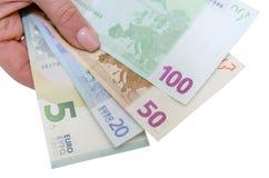 Pila de billetes de banco euro aislados Fotos de archivo
