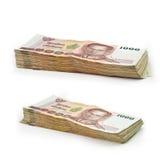 Pila de 1000 billetes de banco tailandeses del baht Fotos de archivo