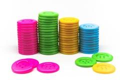 Pila de botones de muchos colores Imagen de archivo libre de regalías