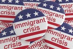 Pila de botones inmigrantes de la crisis con la bandera de los E.E.U.U., ejemplo 3d ilustración del vector