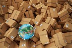 Pila de cajas de cartón cerradas representación 3d ilustración del vector
