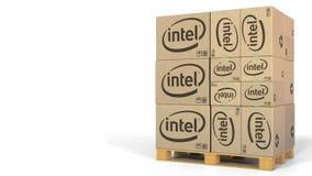 Pila de cajas con el logotipo de Intel Representación editorial 3D libre illustration