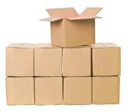 Pila de cajas de cartón Fotos de archivo