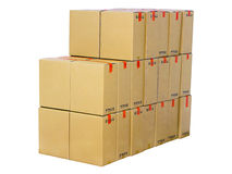 Pila de cajas de cartón Imágenes de archivo libres de regalías