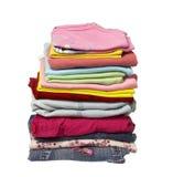 Pila de camisas de la ropa Imágenes de archivo libres de regalías