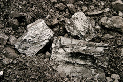 Pila de carbón en la acción Foto de archivo
