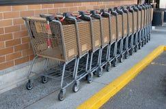 Pila de carros de la compra fuera de una tienda Imagen de archivo libre de regalías