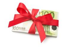 Pila de cientos billetes de banco euro Fotografía de archivo libre de regalías