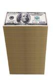 Pila de cientos billetes de dólar Fotografía de archivo