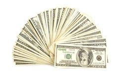 Pila de cientos cuentas de dólar Fotografía de archivo libre de regalías