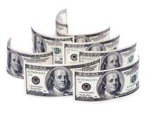 pila de cientos cuentas de dólar los E.E.U.U. Imagen de archivo