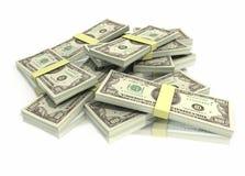 Pila de cientos pilas de la cuenta de dólar Imagen de archivo