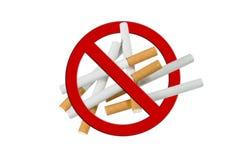 Pila de Cigaretts, antifumador Imagen de archivo libre de regalías