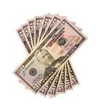 Pila de cincuenta cuentas de los E.E.U.U. del dólar aisladas en el fondo blanco Foto de archivo libre de regalías