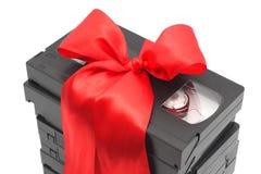 Pila de cintas video atadas con una cinta Fotos de archivo libres de regalías