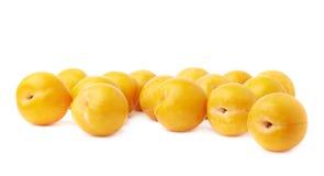 Pila de ciruelos amarillos múltiples aislados Fotos de archivo libres de regalías